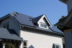 Hour with large rooftop solar panel system