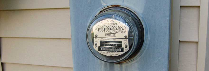 Electricity utility meter on a house