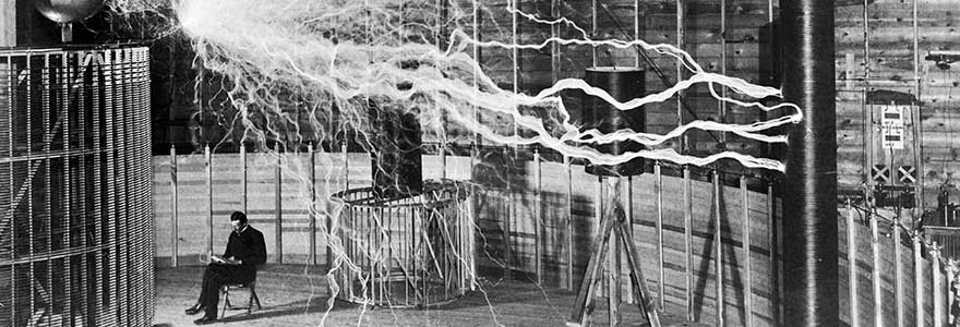 Nikola Tesla Experimenting with Electricity