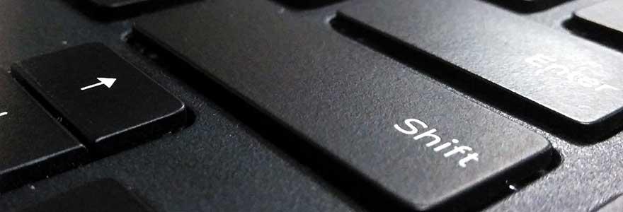 Shift key on a black laptop