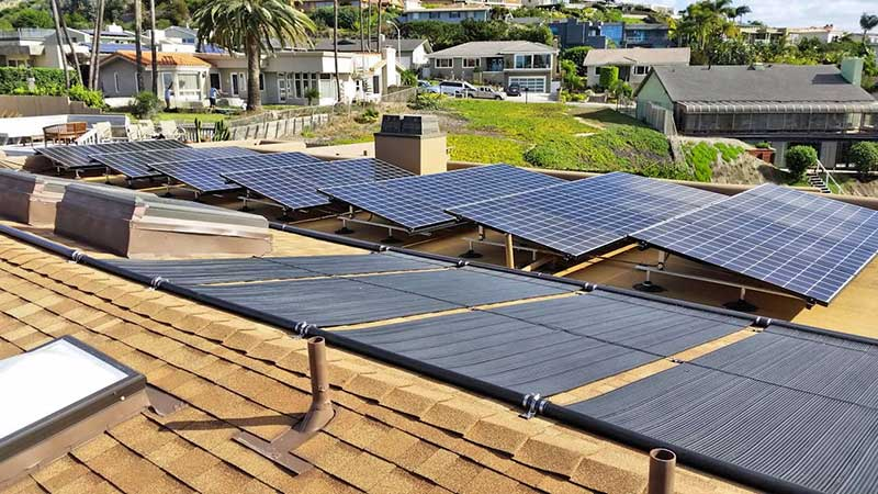 Rooftop Solar Pool Heating and Solar Panel System